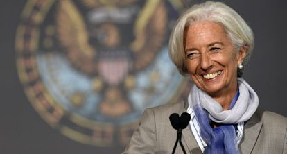 Christine Lagarde nesta quinta-feira, em Washington.