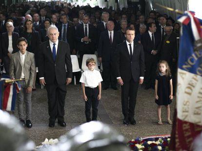 Macron e Benjamim Netanyahu, numa cerimônia em homenagem a judeus.