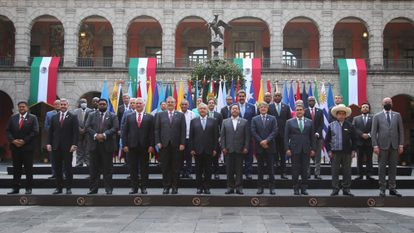 Presidentes e chanceleres da América Latina e do Caribe que estiveram na cúpula da Celac na Cidade do México.