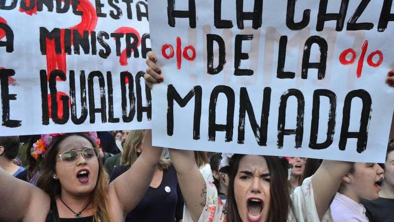 Protesto em Madri contra a sentença da Manada.