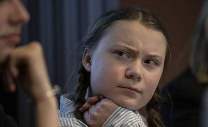 Greta Thunberg, estudante ativista, assiste a uma conferência sobre clima organizada pela Juventude Belga em 21 de fevereiro de 2019.