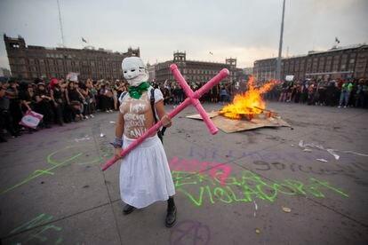Marcha do Dia da Mulher na Cidade do México.
