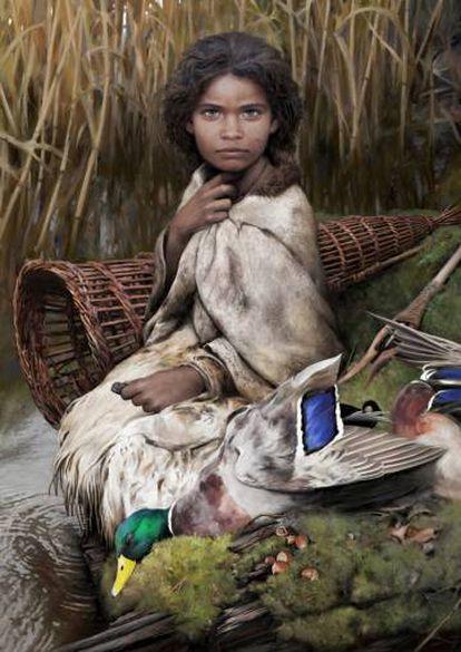 Recriação artística de Lola, como chamaram a garota que mascava o chiclete. Seus traços, o fenótipo, foram deduzidos do sequenciamento de seu genoma. (TOM BJÖRKLUND)