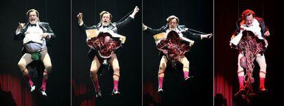 Terry Gilliam estripando-se em 'Monty Python Live (Mostly)'.