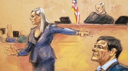 A promotora Amanda Liskamm aponta Joaquín 'El Chapo' Guzmán.
