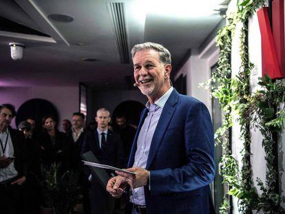 Reed Hastings durante a inauguração dos novos escritórios da Netflix em Paris, em 17 de janeiro.