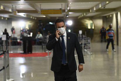 O senador Ciro Nogueira durante o intervalo de uma sessão da CPI da Pandemia no Senado, em 23 de junho.