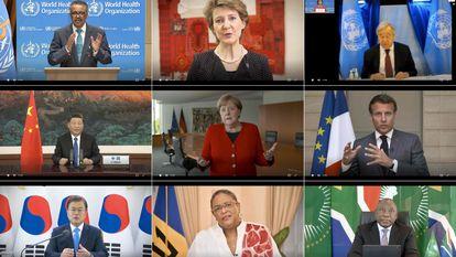 Membros da OMS e líderes mundiais participam de assembleia virtual do órgão, na segunda.