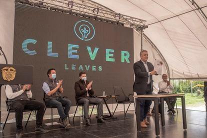 O presidente colombiano, Iván Duque, após a assinatura de um acordo com a empresa Clever Leaves, em Boyacá, Colômbia, no dia 23 de julho.