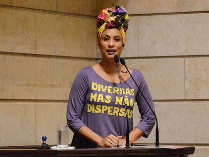A vereadora Marielle Franco, durante um pronunciamento na Prefeitura do Rio de Janeiro em dezembro de 2017.