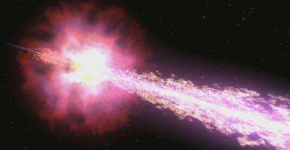 Ilustração de uma explosão de matéria originada no colapso de uma estrela.