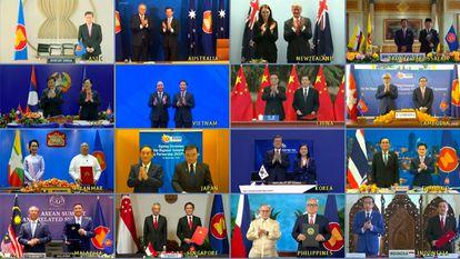 Imagem da videoconferência com os líderes dos 15 países que assinaram o RCEP, criando o maior tratado comercial do mundo