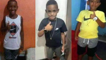 Montagem com as fotos dos três meninos desaparecidos no dia 27 de dezembro, em Belford Roxo.