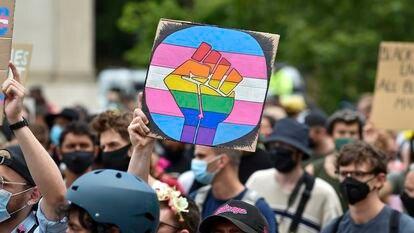 Manifestação do Black 'Trans' Lives Matters, em Londres, em 27 de junho de 2020.