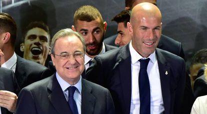 Zinedine Zidane, ao lado de Florentino Pérez.