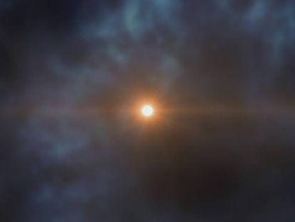 Recriação artística da estrela recém-descoberta