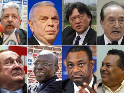 Fotografias dos envolvidos no escândalo de corrupção da FIFA.