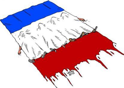 Mortos cobertos pela bandeira da França, do brasileiro Carlos Latuff.