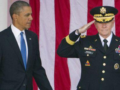 Barack Obama e o general Martin Dempsey.