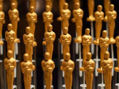 Doces com forma de estatueta do Oscar, em uma festa em 15 de fevereiro em Hollywood.