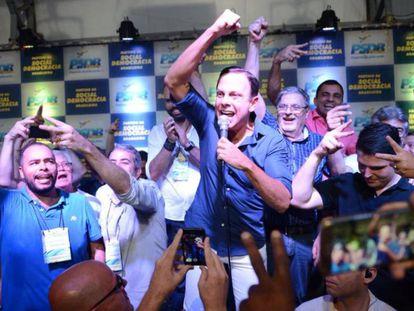 O prefeito de São Paulo, João Doria, durante as prévias do PSDB que o confirmaram como candidato ao Governo do Estado.
