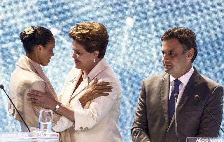 Marina, Dilma e Aécio, os três principais candidatos no debate.