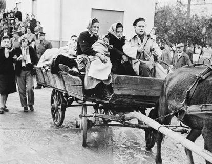 Grupo de húngaros chega à Áustria em abril de 1956 após fugir da invasão soviética.
