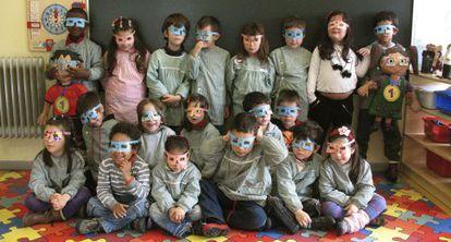 Crianças em um centro de educação infantil de Sintra, ao norte de Lisboa.