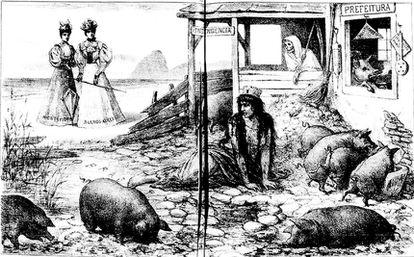 Charge do fim do século 19 mostra insalubridade do Rio, capital do Brasil (imagem: Don Quixote/Biblioteca Nacional Digital). Fonte: Agência Senado