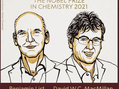 Benjamin List e David W.C. MacMillan, que dividem o Nobel de Química de 2021.