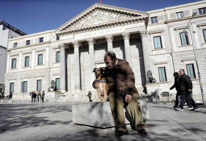 Cão passeia com seu dono em frente ao Congresso dos Deputados.