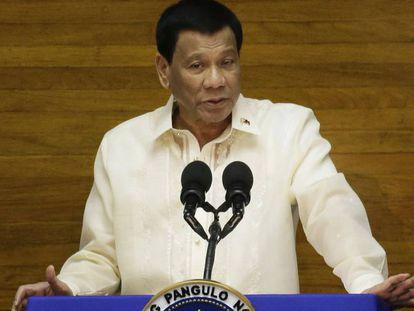 O presidente filipino Rodrigo Duterte durante discurso no dia 23 de julho