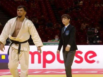 O judoca Fethi Nourine durante um combate, em uma imagem de arquivo.