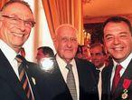 Nuzman e Cabral ao lado do ex-presidente da FIFA, João Havelange, na festa dos guardanapos.