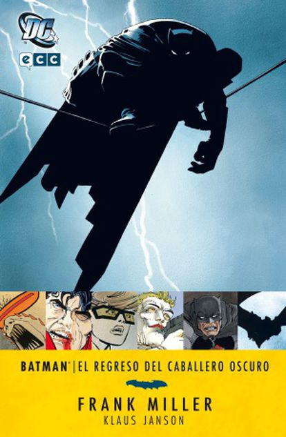 Portada de 'El regresso do caballero escuro', a distopía futurista com Batman de Frank Miller.Capa de 'A volta do cavaleiro das trevas, a distopia futurista com o Batman de Frank Miller.