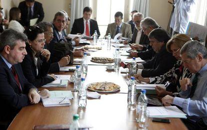 Representantes do Mercosul durante reunião em Montevidéu.