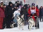 Carrera de trineos tirados por perros en la Isla Tatyshev, en la ciudad siberiana rusa de Krasnoyarsk.