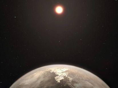 Reconstituição artística do planeta temperado Ross 128 b.
