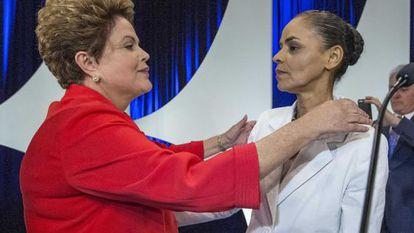 Dilma e Marina no debate desta segunda.
