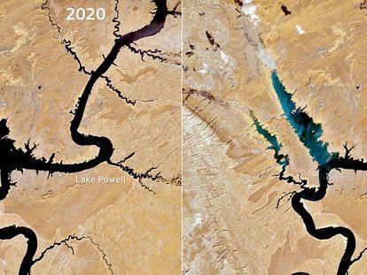 Imagens de satélite dos dias 17 de abril de 2020 e de 2021 que mostram os efeitos da grande seca que sofre a bacia do Rio Colorado no lago Powell, nos Estados Unidos.