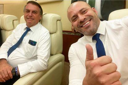 O presidente Jair Bolsonaro e o deputado federal Daniel Silveira em imagem publicada no perfil do Instagram do parlamentar em novembro de 2020.