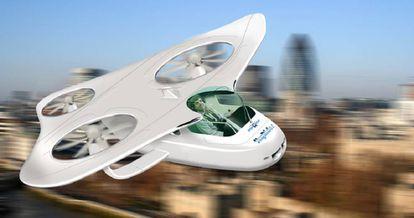 Reconstituição artística de como seria o carro voador do MyCopter.