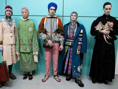 Modelos da coleção outono-inverno 2018-2019 de Gucci.