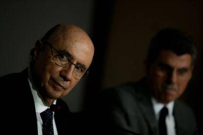 Os ministros Henrique Meirelles e Romero Jucá anunciam nova meta fiscal para 2016.