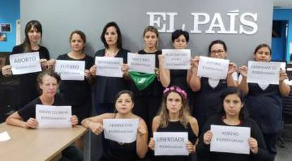 Trabalhadoras do EL PAÍS na redação de São Paulo.