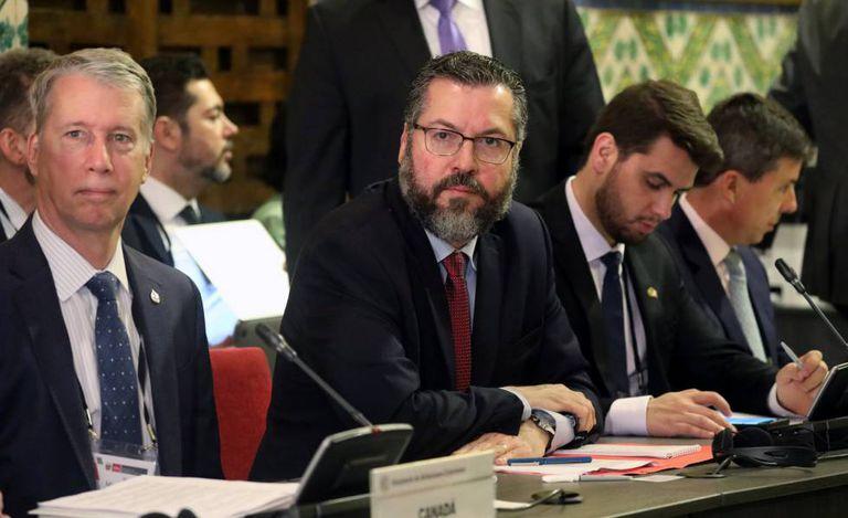 O chanceler brasileiro Ernesto Araujo durante a reunião do Grupo de Lima.