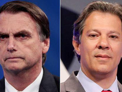 Jair Bolsonaro, Fernando Haddad no debate da Rede TV.