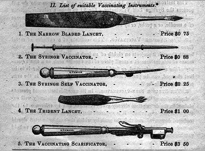 Instrumentos de vacinação do fim do século 19.