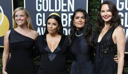 Reese Witherspoon, Eva Longoria, Salma Hayek e Ashley Judd, no Globo de Ouro realizado em 7 de janeiro de 2018.