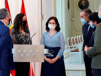 Isabel Díaz Ayuso, presidenta da Comunidade de Madri, anuncia a antecipação das eleições, nesta quarta-feira.